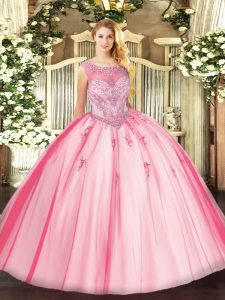 Sleeveless Floor Length Beading and Appliques Zipper Sweet 16 Quinceanera Dress with Pink