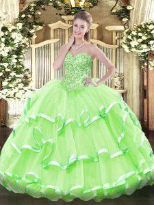 Appliques and Ruffled Layers Quinceanera Gowns Lace Up Sleeveless Floor Length