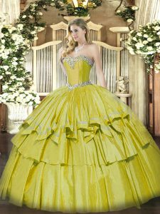 Stunning Sleeveless Floor Length Beading and Ruffled Layers Lace Up Sweet 16 Dresses with Yellow