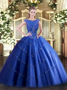 Glamorous Blue Sleeveless Tulle Zipper Quinceanera Gown for Military Ball and Sweet 16 and Quinceanera