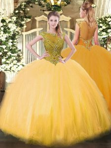 Sumptuous Ball Gowns Ball Gown Prom Dress Gold Scoop Tulle Sleeveless Floor Length Zipper
