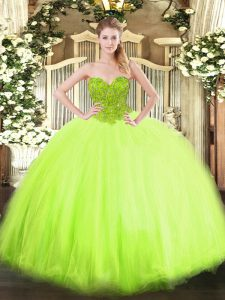 Perfect 15th Birthday Dress Military Ball and Sweet 16 and Quinceanera with Beading Sweetheart Sleeveless Lace Up