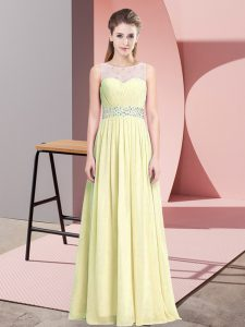 Floor Length A-line Sleeveless Light Yellow Prom Dresses Zipper