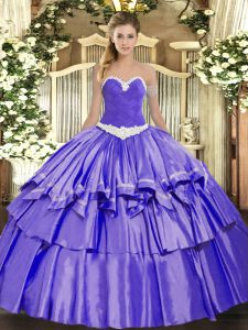 Custom Design Lavender Organza and Taffeta Lace Up Ball Gown Prom Dress Sleeveless Floor Length Appliques and Ruffled Layers