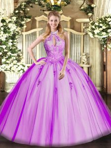 Modern Sleeveless Lace Up Floor Length Lace and Appliques Sweet 16 Dresses