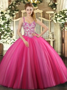 Floor Length Hot Pink Sweet 16 Quinceanera Dress Tulle Sleeveless Beading