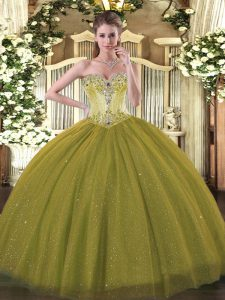 Captivating Olive Green Ball Gowns Beading Quince Ball Gowns Lace Up Tulle and Sequined Sleeveless Floor Length