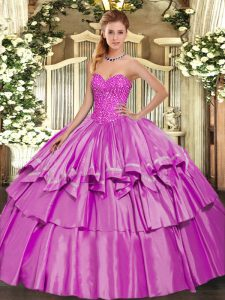 Sleeveless Floor Length Beading and Ruffled Layers Lace Up Ball Gown Prom Dress with Lilac