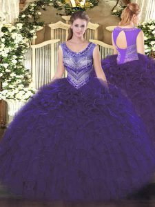Purple Sleeveless Organza Lace Up Sweet 16 Quinceanera Dress for Sweet 16 and Quinceanera