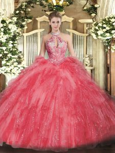 Sleeveless Organza Floor Length Lace Up Quinceanera Gowns in Coral Red with Beading and Ruffles