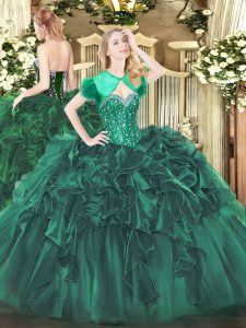 Organza Sweetheart Sleeveless Lace Up Beading and Ruffles Quinceanera Gowns in Dark Green