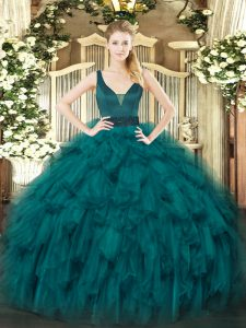 Stylish Teal Ball Gowns Straps Sleeveless Organza Floor Length Zipper Beading and Ruffles Sweet 16 Dresses