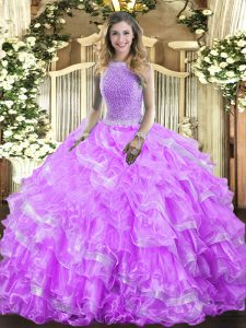 Latest Lavender Organza Lace Up Quinceanera Dresses Sleeveless Floor Length Beading and Ruffled Layers