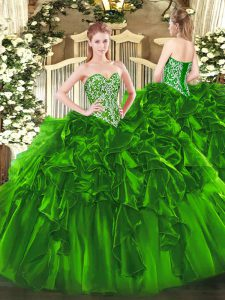 Free and Easy Sleeveless Organza Floor Length Lace Up 15 Quinceanera Dress in Green with Beading and Ruffles