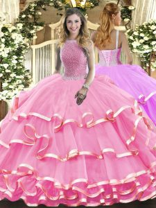 Rose Pink Ball Gowns Organza High-neck Sleeveless Beading and Ruffled Layers Floor Length Lace Up Ball Gown Prom Dress
