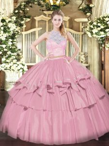 Sweet Sleeveless Zipper Floor Length Lace and Ruffled Layers Quince Ball Gowns