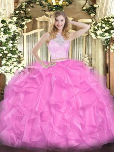 Rose Pink Sleeveless Floor Length Lace and Ruffles Zipper Vestidos de Quinceanera