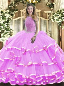 Attractive Beading and Ruffled Layers Quinceanera Gown Lilac Lace Up Sleeveless Floor Length