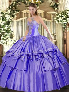 Flare Lavender Sweetheart Lace Up Beading and Ruffled Layers Sweet 16 Dresses Sleeveless