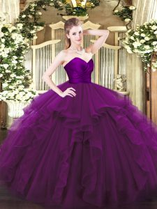 On Sale Ruffles Sweet 16 Dress Purple Zipper Sleeveless Floor Length