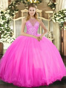 Colorful Floor Length Ball Gowns Sleeveless Rose Pink Sweet 16 Dresses Lace Up