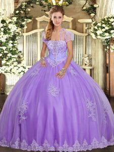 Custom Made Sleeveless Floor Length Appliques Lace Up Sweet 16 Quinceanera Dress with Lavender