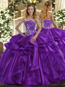 Floor Length Purple Sweet 16 Quinceanera Dress Strapless Sleeveless Lace Up