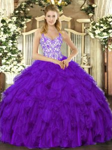 Charming Purple Ball Gowns Organza Straps Sleeveless Beading and Ruffles Floor Length Lace Up Quince Ball Gowns