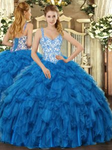 High Class Sleeveless Lace Up Floor Length Beading and Ruffles Quinceanera Gown