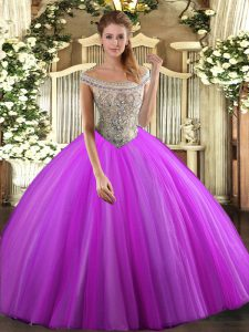 Fuchsia Quinceanera Dresses Sweet 16 and Quinceanera with Beading Off The Shoulder Sleeveless Lace Up