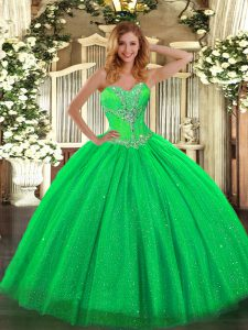 Sweetheart Sleeveless Tulle and Sequined Sweet 16 Dress Beading Lace Up