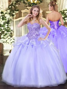 Lavender Sleeveless Floor Length Appliques Lace Up Quinceanera Dress