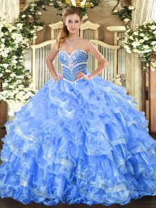 Pretty Baby Blue Ball Gowns Sweetheart Sleeveless Organza Floor Length Lace Up Beading and Ruffled Layers 15 Quinceanera Dress