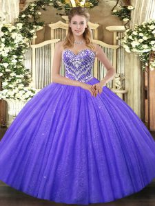 Fantastic Sleeveless Lace Up Floor Length Beading 15th Birthday Dress