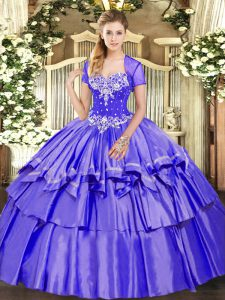 Purple Sleeveless Beading and Ruffled Layers Floor Length 15th Birthday Dress