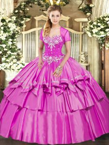 High Quality Lilac Sleeveless Floor Length Beading and Ruffled Layers Lace Up Quinceanera Gowns