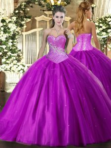 On Sale Purple Sleeveless Beading Floor Length Sweet 16 Dress