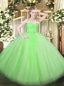 Colorful Sleeveless Tulle Zipper 15th Birthday Dress for Military Ball and Sweet 16 and Quinceanera