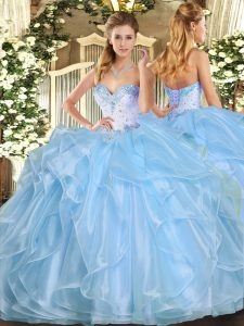 Chic Aqua Blue Lace Up Sweetheart Beading and Ruffles 15th Birthday Dress Organza Sleeveless