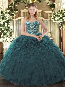 Latest Teal Sweetheart Lace Up Beading and Ruffled Layers Sweet 16 Quinceanera Dress Sleeveless