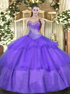 Amazing Sleeveless Lace Up Floor Length Beading and Ruffled Layers Sweet 16 Dresses