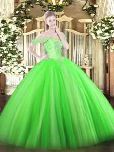 Glamorous Green Tulle Lace Up Off The Shoulder Sleeveless Floor Length Quinceanera Dress Beading