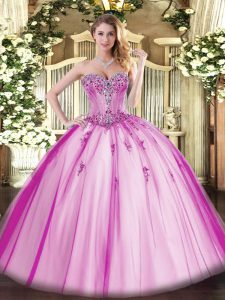 High End Tulle Sleeveless Floor Length Sweet 16 Dress and Beading and Appliques