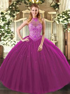 Fashionable Sleeveless Beading and Embroidery Lace Up Sweet 16 Dresses