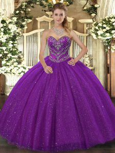 Simple Floor Length Lace Up Quinceanera Dresses Purple for Military Ball and Sweet 16 and Quinceanera with Beading