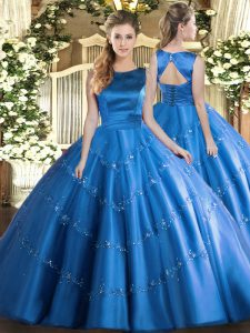 Comfortable Sleeveless Floor Length Appliques Lace Up Sweet 16 Quinceanera Dress with Baby Blue