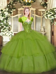 Olive Green Tulle Lace Up Quinceanera Dress Sleeveless Floor Length Beading and Ruffled Layers