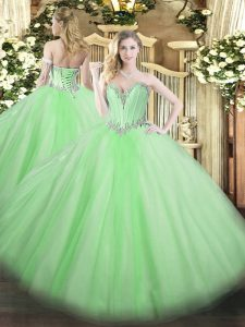 Artistic Ball Gowns Sweetheart Sleeveless Tulle Floor Length Lace Up Beading Quinceanera Gown
