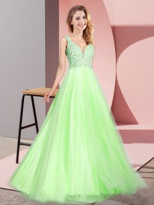 Floor Length Zipper Prom Gown Yellow Green for Prom and Party with Lace
