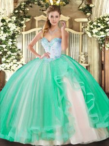 Deluxe Sweetheart Sleeveless 15th Birthday Dress Floor Length Beading and Ruffles Turquoise Tulle